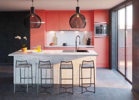 Koralinės spalvos virtuvė